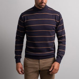 NAVY & GREEN SWEATER 24YM.907/L-BLUE/BROWN SUGAR