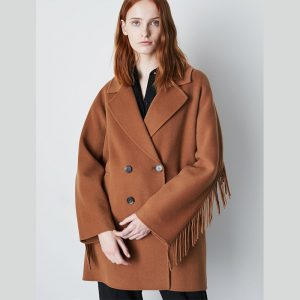 MARELLA FRINGE PEACOAT 3086010602-001-BURNT BROWN
