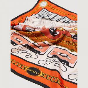 MARELLA FOLIGNO SILK SCARF 654605052-001-CAMEL