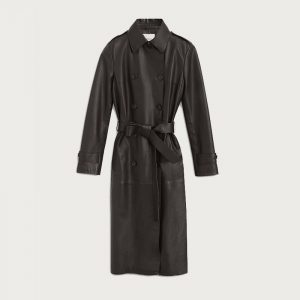 DONDUP DOUBLE-BREASTED NAPPA LEATHER TRENCH COAT DJ361 PL0244D XXX-999-BLACK