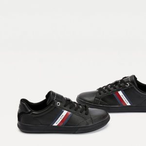 TOMMY HILFIGER ESSENTIAL LEATHER CUPSOLE FM0FM02987-BDS-BLACK