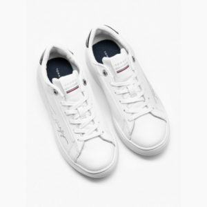 TOMMY HILFIGER SIGNATURE TOMMY LEATHER CUPSOLE FW0FW05219-YBR-WHITE