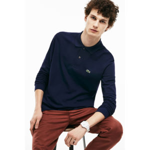 LACOSTE LONG-SLEEVE CLASSIC FIT PIQUE POLO L1312-166-BLUE MARINE