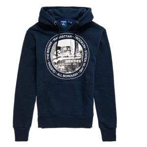 SUPERDRY VL NYC PHOTO HOOD SWEATSHIRT M2010433A-09S-NAUTICAL NAVY
