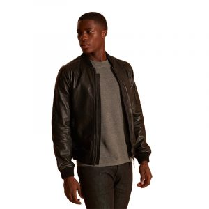 SUPERDRY LEATHER BOMBER JACKET M5010381A-02A-BLACK