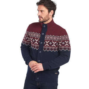 BARBOUR KIRK BUTTON THROUGH CARDIGAN MKN1273-RE94-BORDEAUX/BLUE