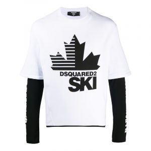 DSQUARED2 LAYERED SKI LONG SLEEVE T-SHIRT S71GD0930 S23785-100-WHITE