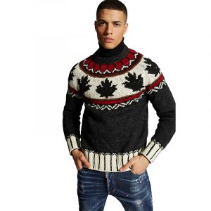 DSQUARED2 WOOL PATTERNED KNIT SWEATER S71HA1012 S17547-961-BLACK/RED