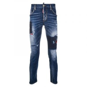 DSQUARED2 CANADIAN CHECK RIPPED WASH JEANS S71LB0838 S30708-470-BLUE