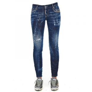 DSQUARED2 STONE WASHED BOOTCUT JEANS S72LB0359 S30664-470-BLUE