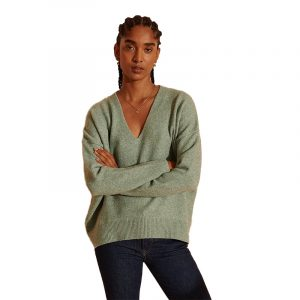 SUPERDRY ISABELLA SLOUCH VEE SWEATER W6110064A-3WB-SOFT SPEARMINT MARL