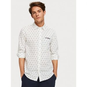 SCOTCH & SODA PRINTED CASUAL REGULAR FIT SHIRT 152183-0220-WHITE