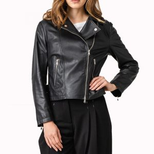 EMPORIO ARMANI LEATHER JACKET 4NB60P-42P07-BLACK