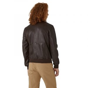 TRUSSARDI JEANS SOFT TOUCH LEATHER BOMBER JACKET 52S00479-2P000079-B295-EBONY