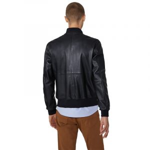 TRUSSARDI JEANS SOFT TOUCH LEATHER BOMBER JACKET 52S00479-2P000079-K299-BLACK