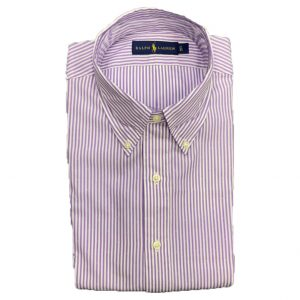 RALPH LAUREN COTTON STRETCH SHIRT 712650258005-DARK LAVENDER/WHITE