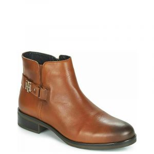 TOMMY HILFIGER BUCKLE LEATHER BOOTIES FW0FW03128 606-C0GNAC