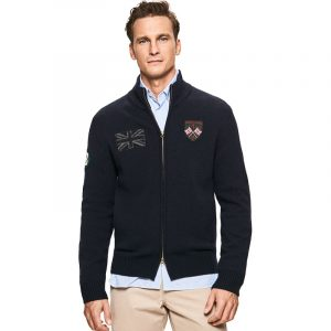 HACKETT GBK BADGE FZIP CARDIGAN HM702566-595-NAVY