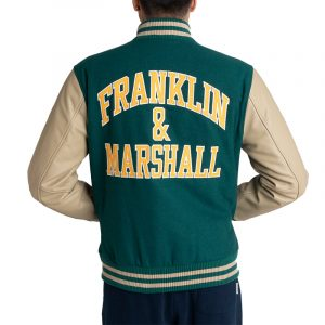 FRANKLIN MARSHALL WOOLEN MELTON JACKET JM8000.000.8001P00-111-GREEN/ECRU