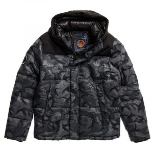 SUPERDRY QUILTED EVEREST JACKET M5010322A-3SR-GREY CAMO AOP