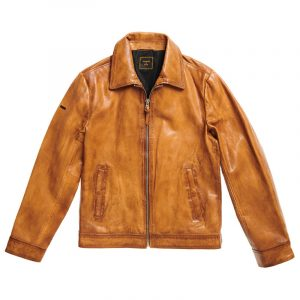 SUPERDRY INDIE COACH LEATHER JACKET M5010409A-DUV-WASHED TAN
