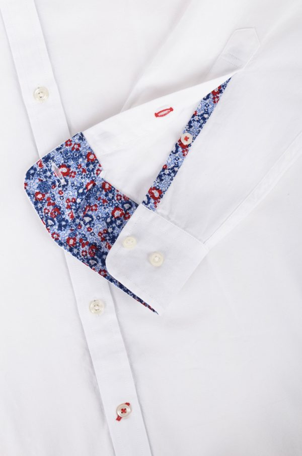 TOMMY HILFIGER FLORAL DETAILED OXFORD SHIRT MW0MW01515-100-WHITE