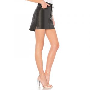 ONE TEASPOON VANGUARD LEATHER SKIRT 64F20786-BLACK