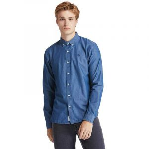 TIMBERLAND MUMFORD RIVER MODERN CHAMBRAY CLASSIC SLIM SHIRT TB0A2BQG-450-LIGHT WASHED