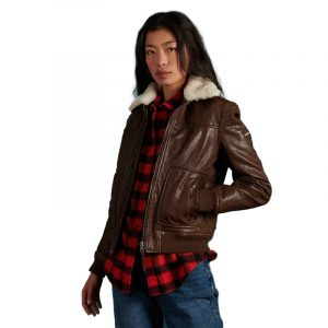 SUPERDRY AVIATOR FLIGHT LEATHER JACKET W5010351A-4GE-AVIATOR BROWN
