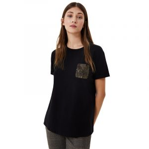 LIU JO MODA M/C T-SHIRT WF0414J5003-V9554-NERO BREAST POCKET