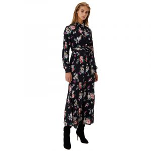 LIU JO ABITO LUNGO TS.NAV DRESS WF0459T0414-T9122-BLACK MULTICOL. FLOWE