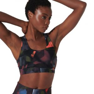 SUPERDRY D2 SPORT TRAINING MEDIUM SUPPORT BRA TOP WS310157A-3HM-CUBISM PRINT