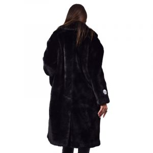 JAKKE KATIE WEAR & CARE FAUX FUR LONG DUSTER COAT J1807 BLACK