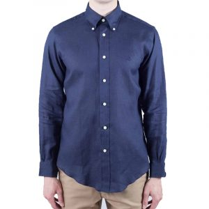 BROOKS BROTHERS LINEN SHIRT 79749 NAVY BLUE