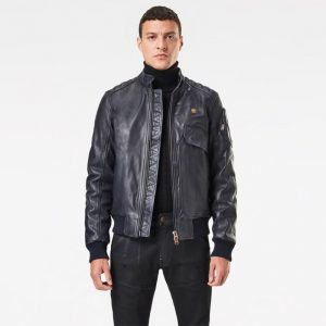 G-STAR RAW HAWORX PADDED LEATHER JACKET D17553-B508-4213-MAZARINE BLUE