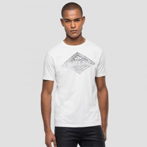 REPLAY ORGANIC COTTON WITH PRINT T-SHIRT M3140 .000.23046P-012-BUTTER WHITE