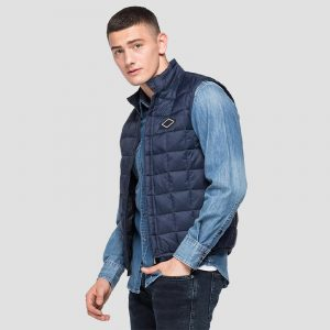 REPLAY RECYCLED NYLON VEST M8083 .000.83798-714-INK BLUE