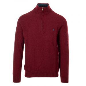 MARLBORO CLASSICS HALF ZIP LAMBSWOOL POLO NECK JUMPER MCS-M-K-03003-307-RED