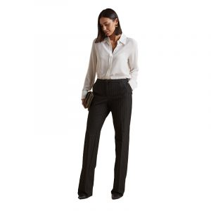ELENA MIRO PINSTRIPED FABRIC TROUSERS P258T002639N-02-BLACK