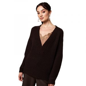 RUT & CIRCLE MELODY V-NECK KNIT RUT-20-03-03-DARK BROWN