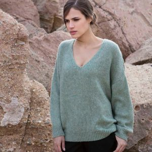 AGGEL MOHAIR BLEND V-NECK SWEATER W01156K-MINT