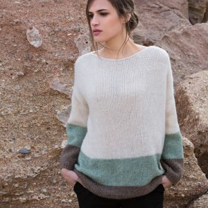 AGGEL MOHAIR BLEND STRIPED RELAXED SWEATER W01158K-IVORY