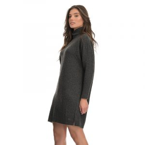 AGGEL CASHMERE BLEND TURTLENECK RELAXED MINI DRESS W03112K-ANTHRACITE