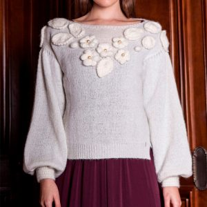 AGGEL MOHAIR KNIT BLOUSE W19280-IVORY