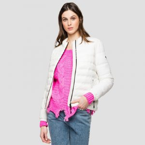 REPLAY RECYCLED NYLON LIGHT JACKET W7496A.000.83806-012-BUTTER WHITE