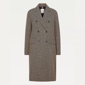 TOMMY HILFIGER DB WOOL BLEND PATTERN COAT WW0WW29135-0L3-CHECK LARGE BEIGE