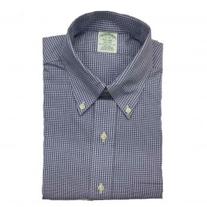 BROOKS BROTHER CHECKED MILANO FIT SHIRT NON IRON 00039904-BLUE/WHITE