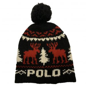 POLO RALPH LAUREN ARAN CABLE HAT A81 AHARC WGLEN V06666-BLACK/RED