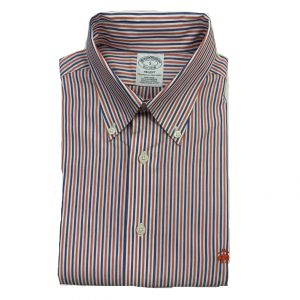 BROOKS BROTHER REGENT SHIRT NON IRON 00025077-WHITE/RED/BLUE