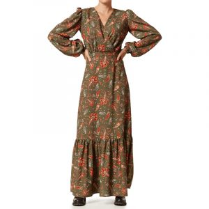 VLASSI HOLEVA LONG DRESS WITH PUFFED SLEEVES AWP2122/A-MULTI